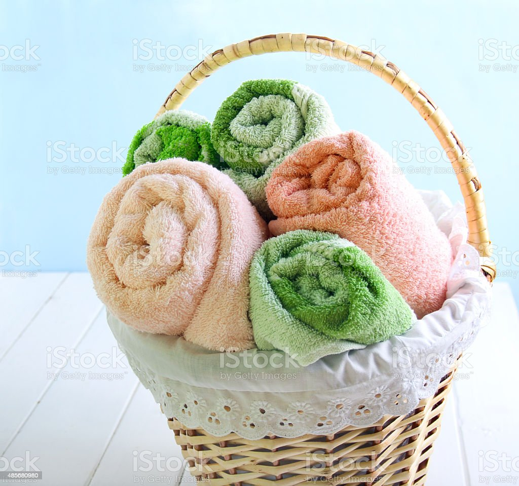 Different colors towels stock photo