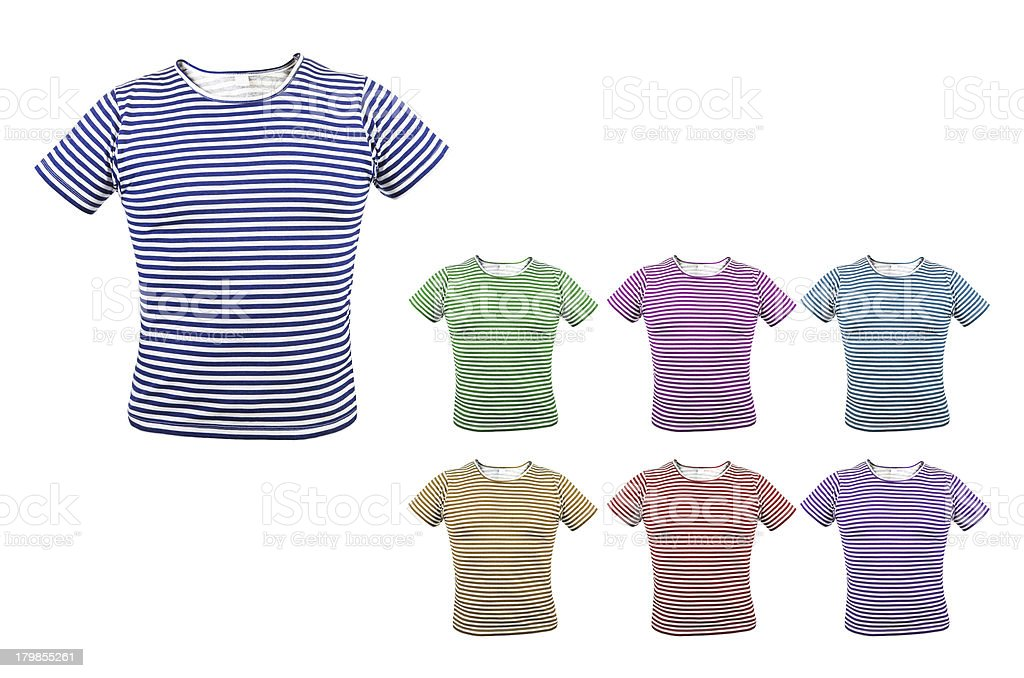 Different colour striped T-shirt. Front. stock photo