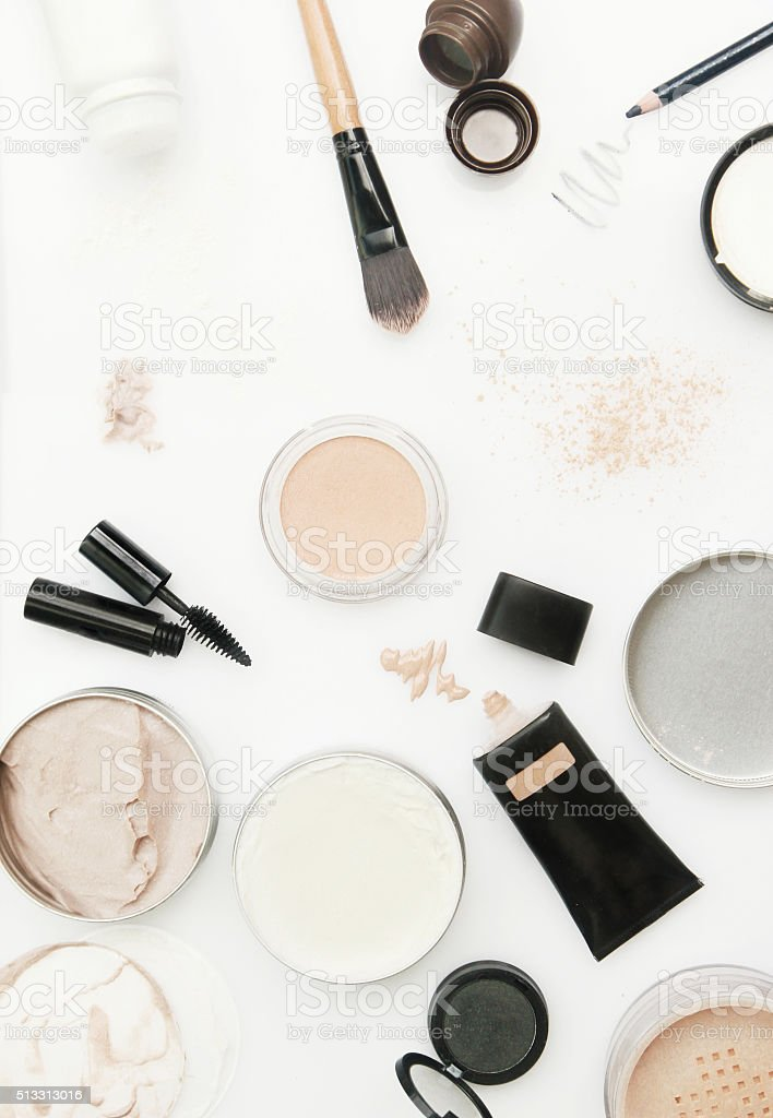 Different cosmetics products on the white stock photo