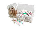 Different cotton swabs in two rectangular and round plastic cont