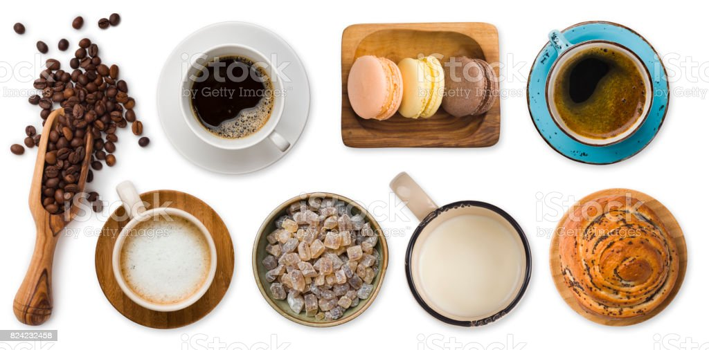 Different cups of coffee and sweets isolated on white background stock photo