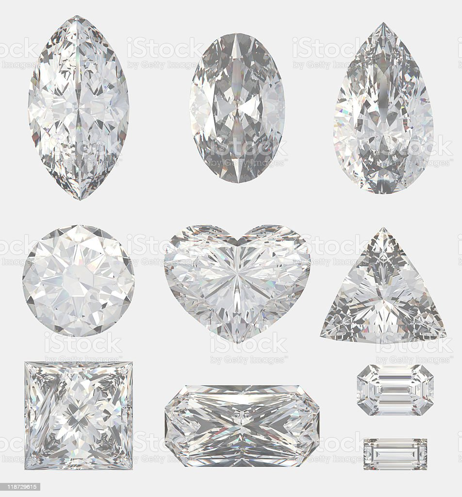 Different cuts of a diamonds stock photo