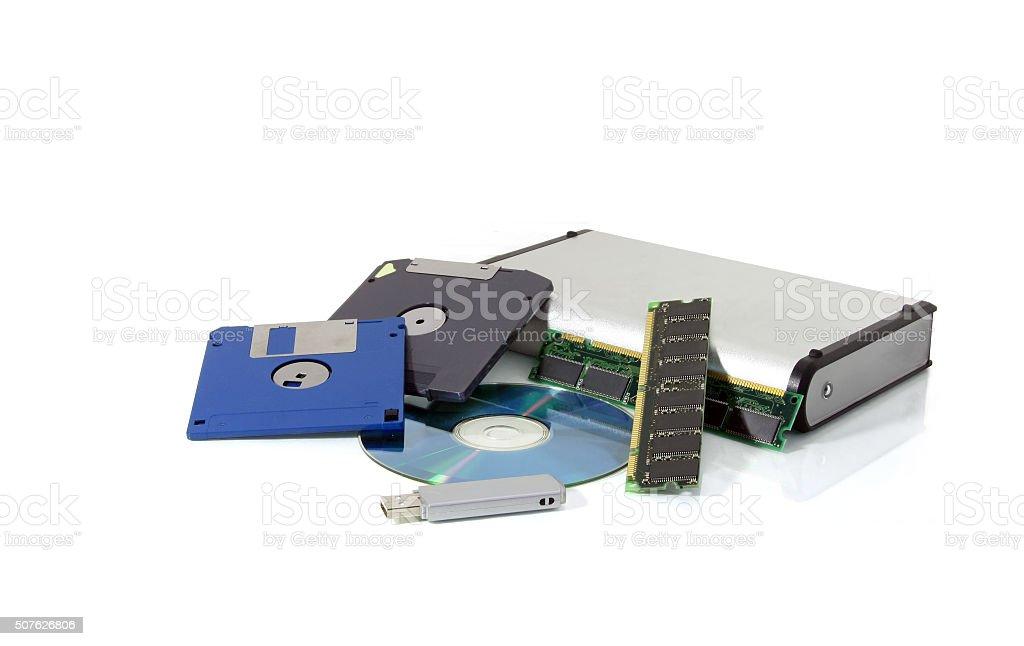 Different data storage mediums stock photo
