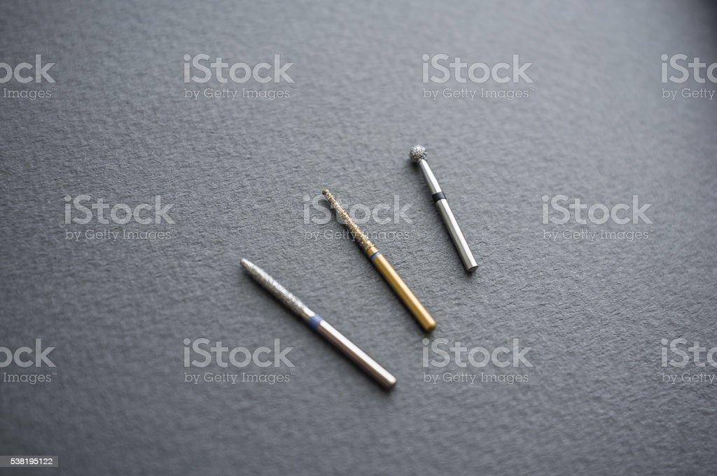 Different dental bur tools close-up stock photo