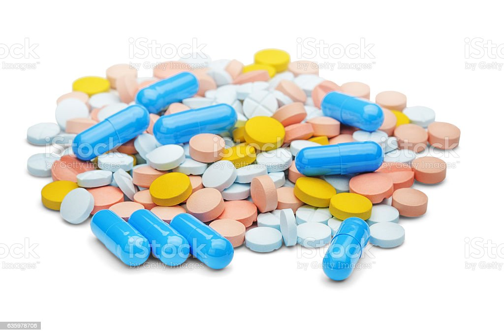 different drugs in form of pills and tablets stock photo