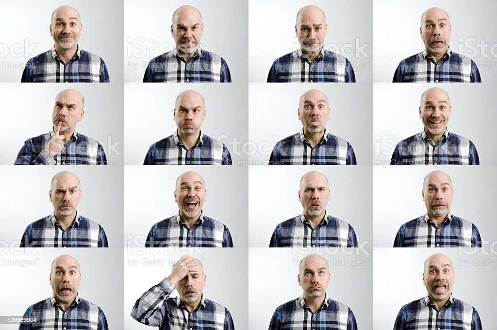 Different emotions or facial expressions of the same man stock photo