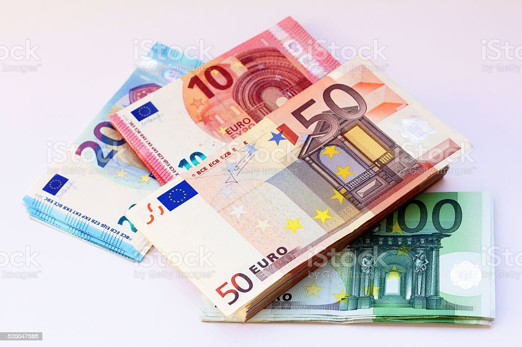 Different euro bills stock photo
