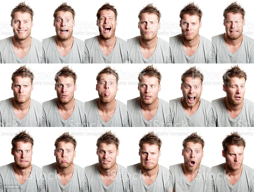 18 different facial expression from handsome man with beard stock photo