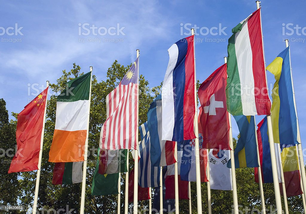 Different flags of various countries royalty-free stock photo