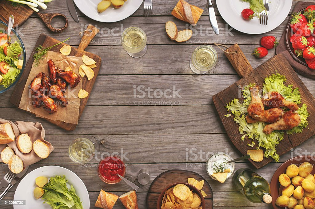 Different food cooked on the grill stock photo