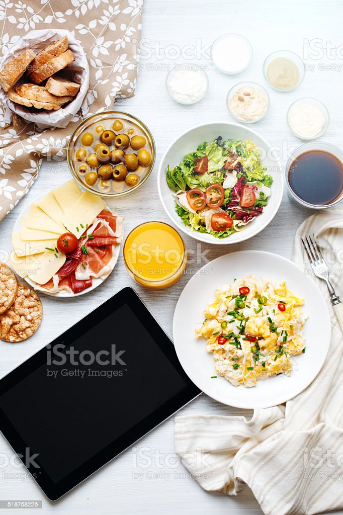 Different Food. Tablet Template. stock photo