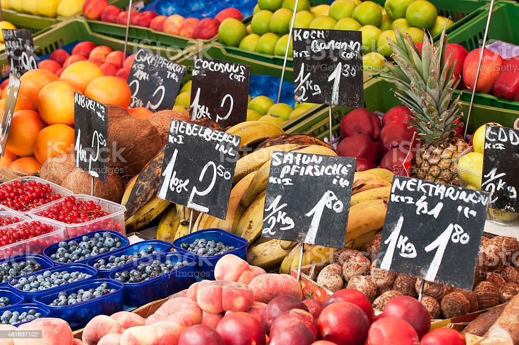 Different fruits and vegetables on Viennas Naschmarkt, Austria stock photo