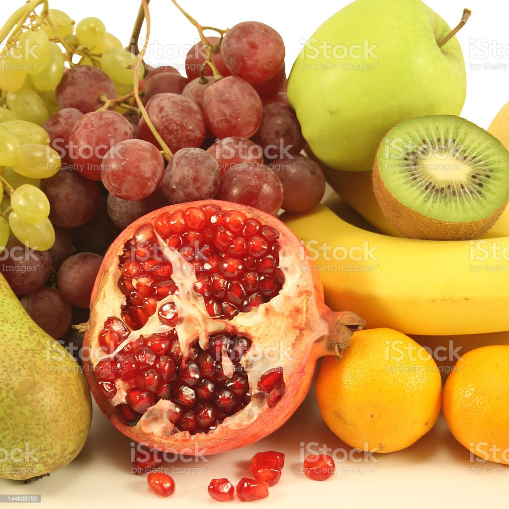 Different fruits on a white background. royalty-free stock photo