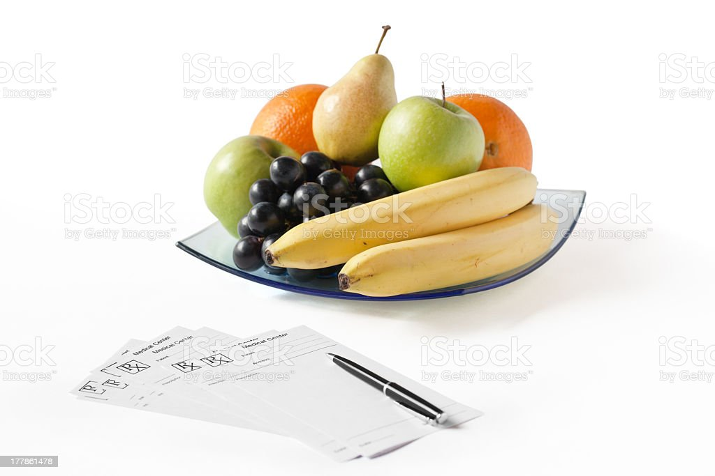 Different Fruits Prescription and Pen royalty-free stock photo