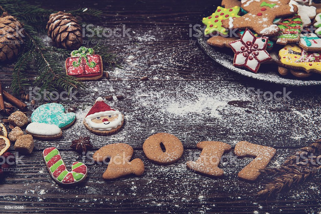 Different ginger cookies 2017 year stock photo