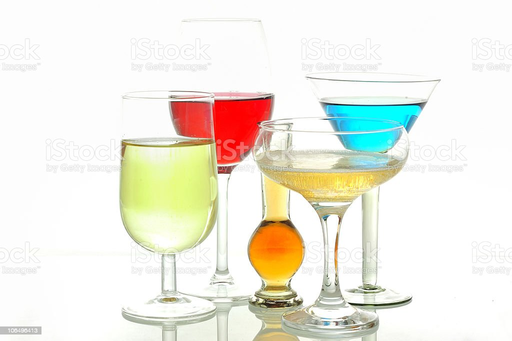 Different glasses with alcoholic drinks royalty-free stock photo
