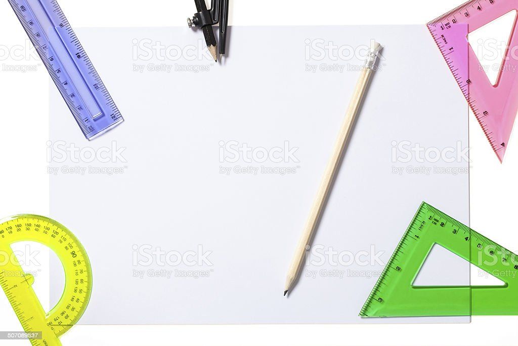 Different Grade School Supplies with Clipping Path royalty-free stock photo