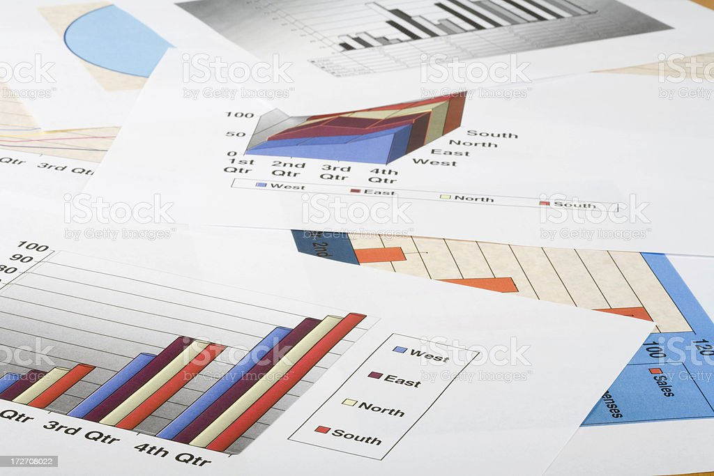 Different graph printouts royalty-free stock photo