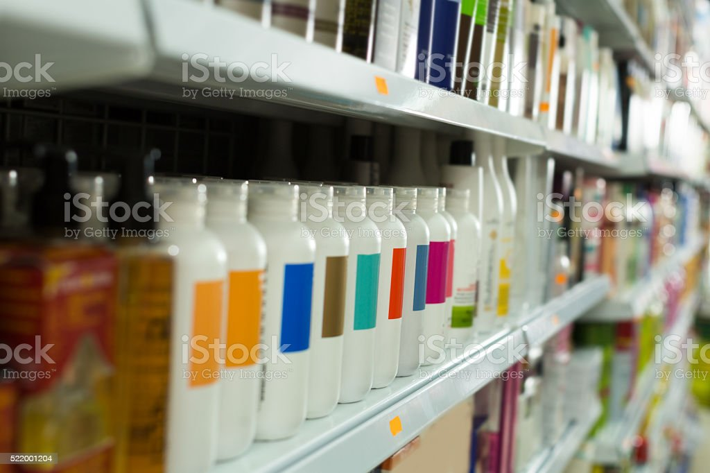 different hair care products stock photo
