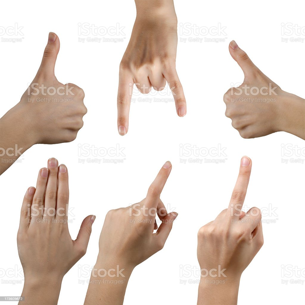 Different Hand Signs on white royalty-free stock photo