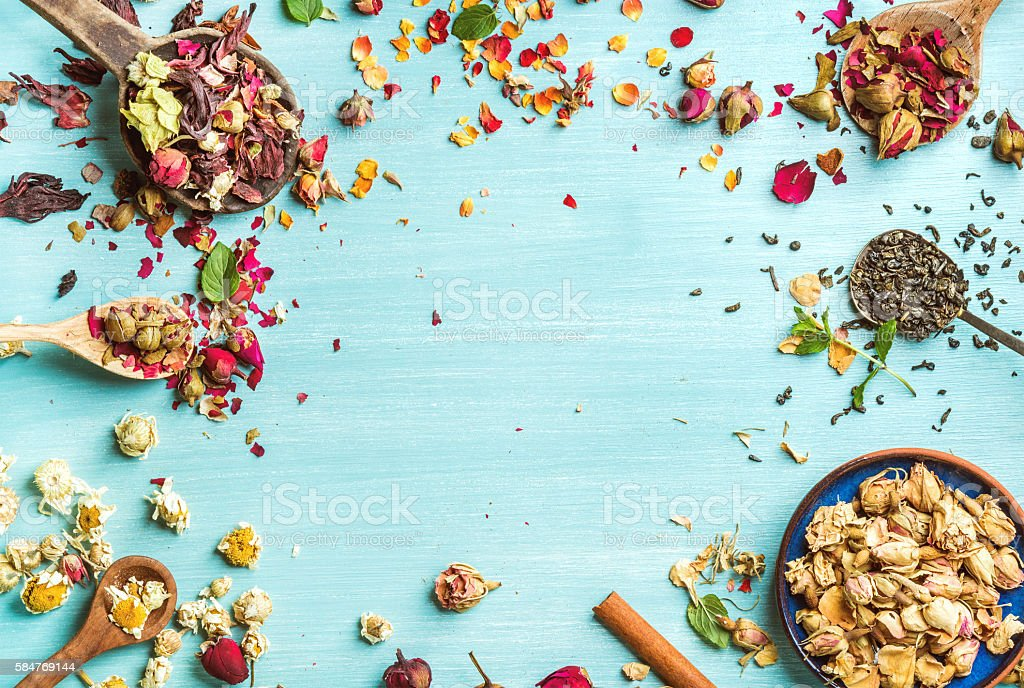 Different herbs for making healthy tea: mint, cinnamon, dried rose stock photo