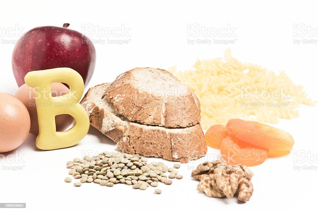 Different items that contain vitamin B stock photo