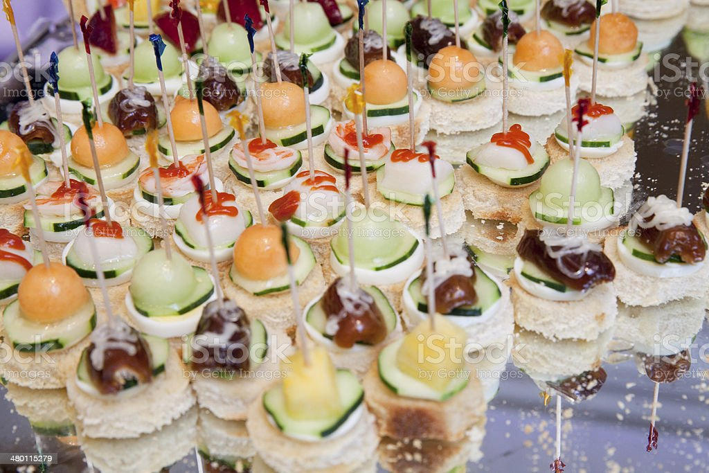 Different kind of canapes stock photo