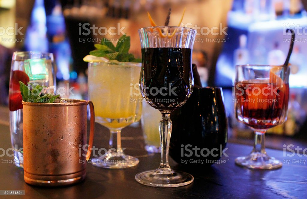 different kind of cocktails menu  on a bar stock photo