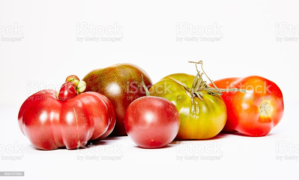 Different kind of tomatoes stock photo