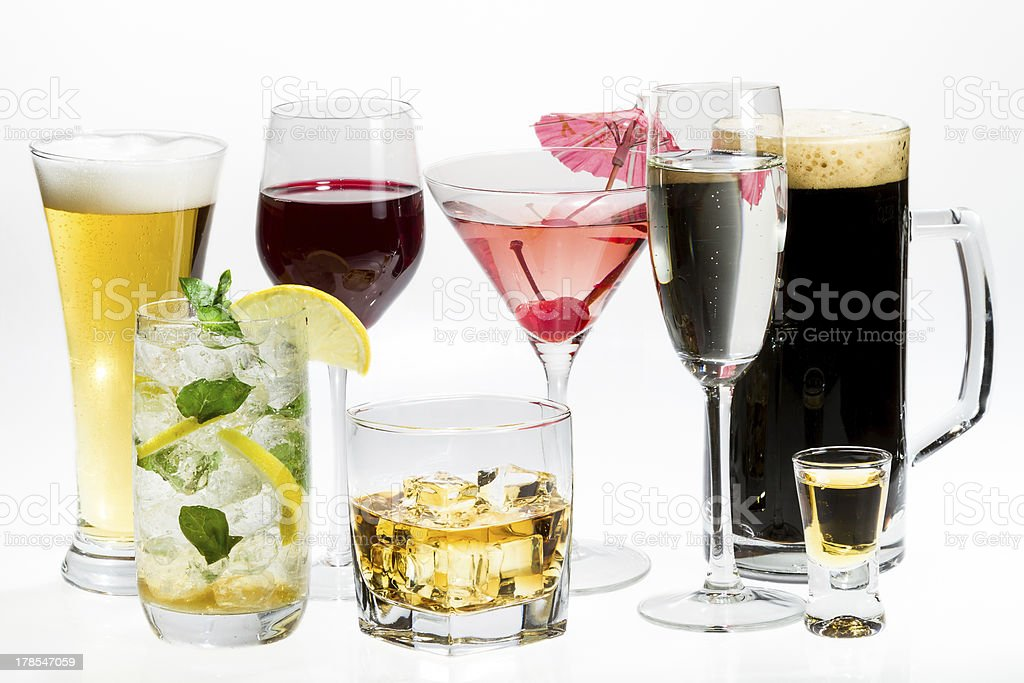Different kinds of alcohol on a white background stock photo