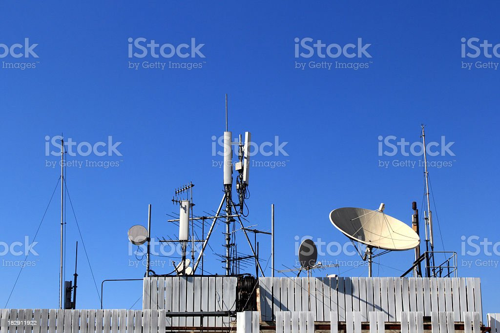 Different kinds of antennas stock photo