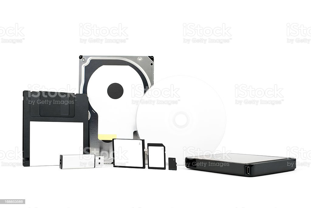 Different kinds of backup and storage equipment for digital data stock photo