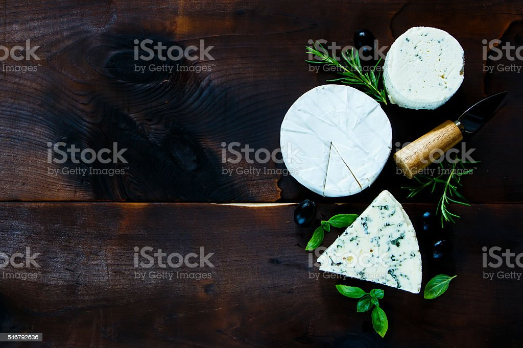 Different kinds of cheese stock photo
