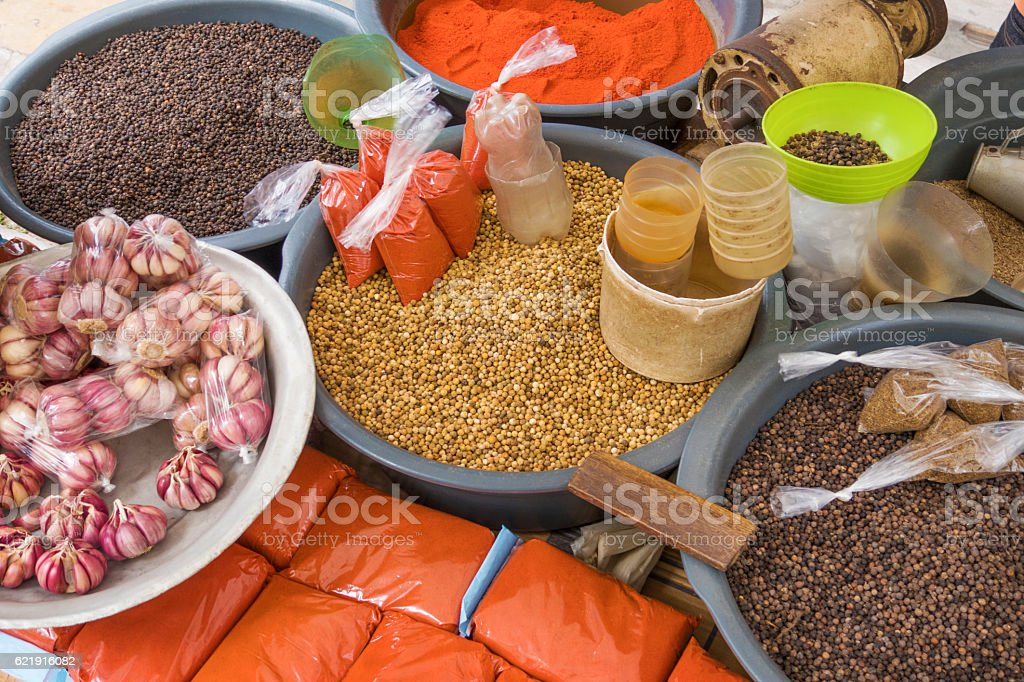Different kinds of condiments stock photo