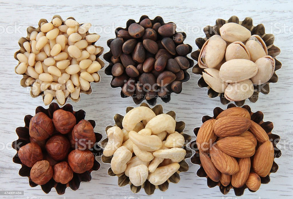 Different kinds of nuts stock photo