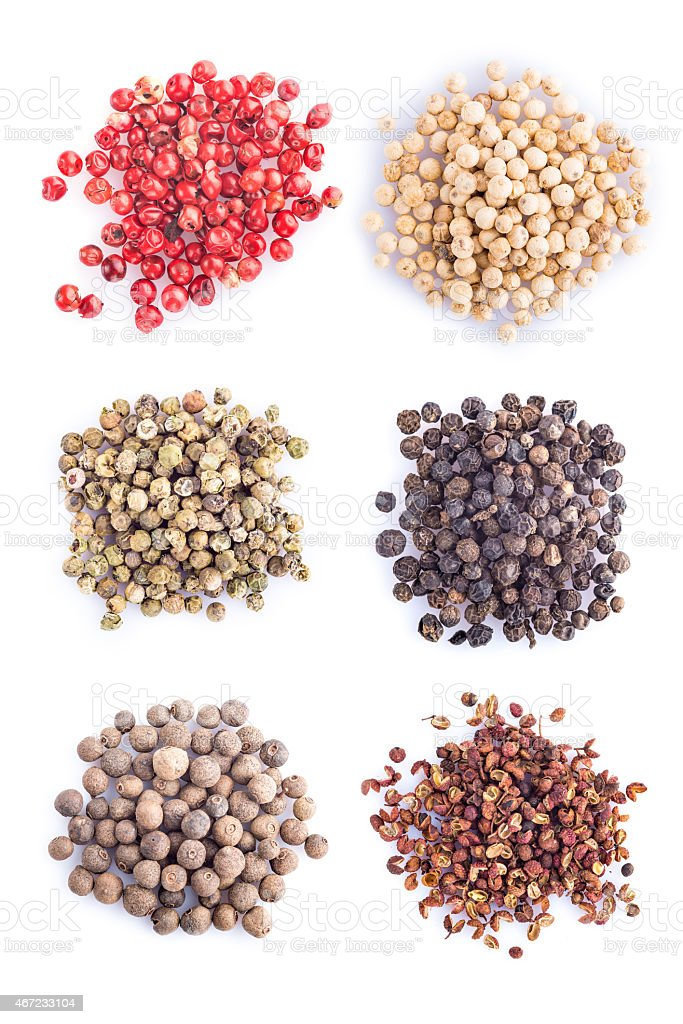 Different kinds of pepper on a white background stock photo