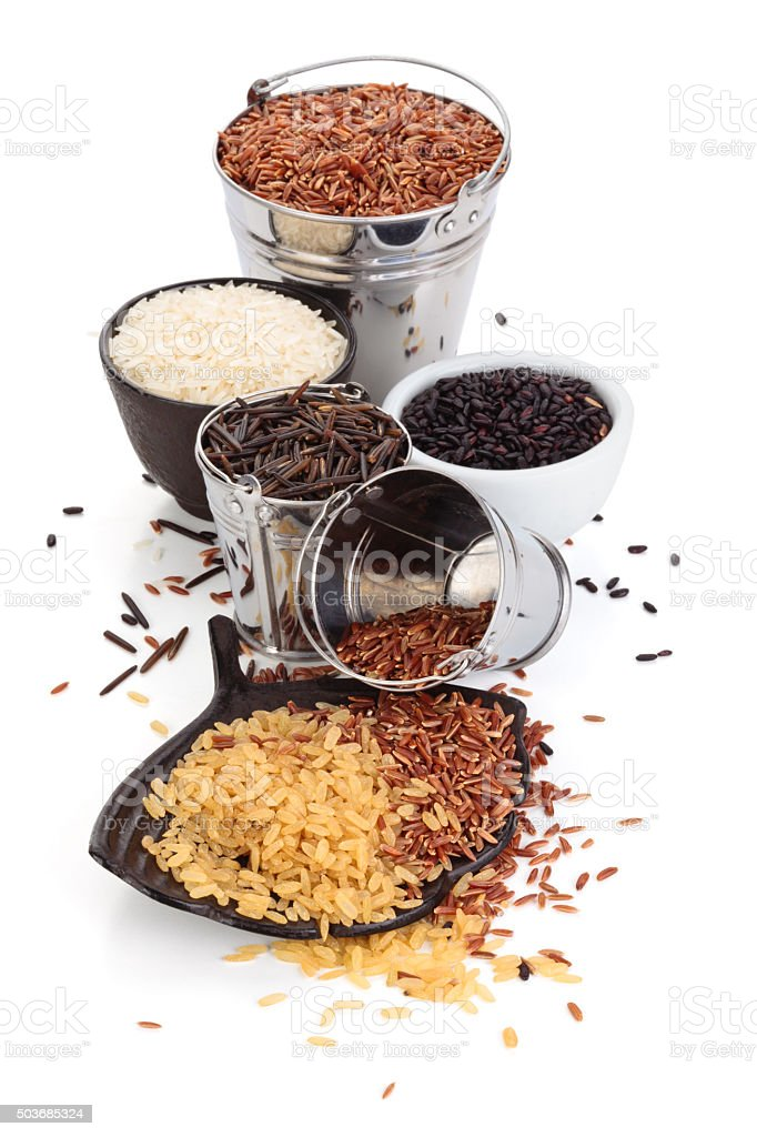 Different kinds of rice . stock photo