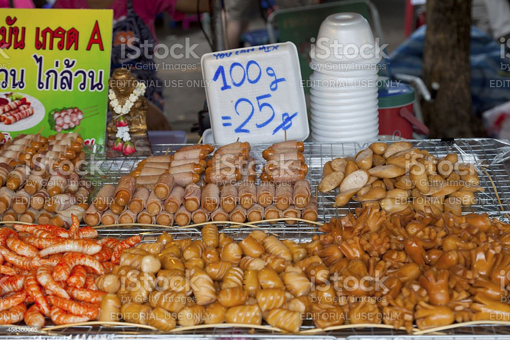 Different kinds of sausage for sale at Bangkok market. royalty-free stock photo