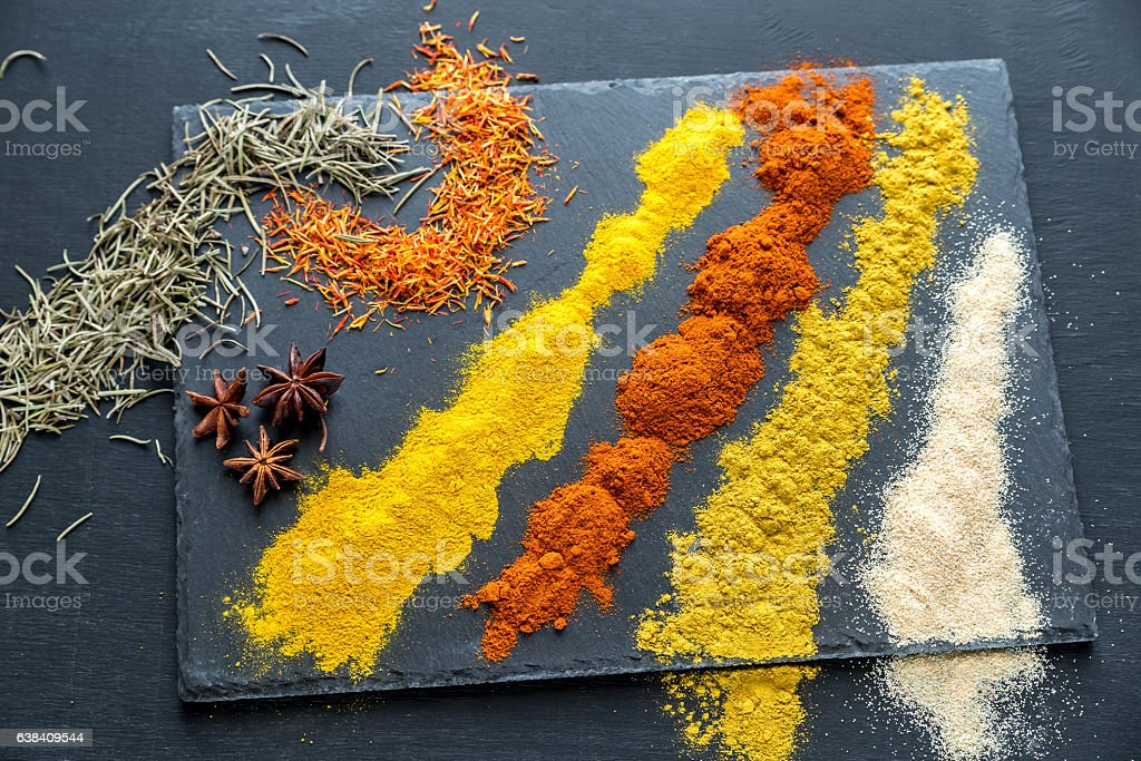Different kinds of spices and herbs stock photo