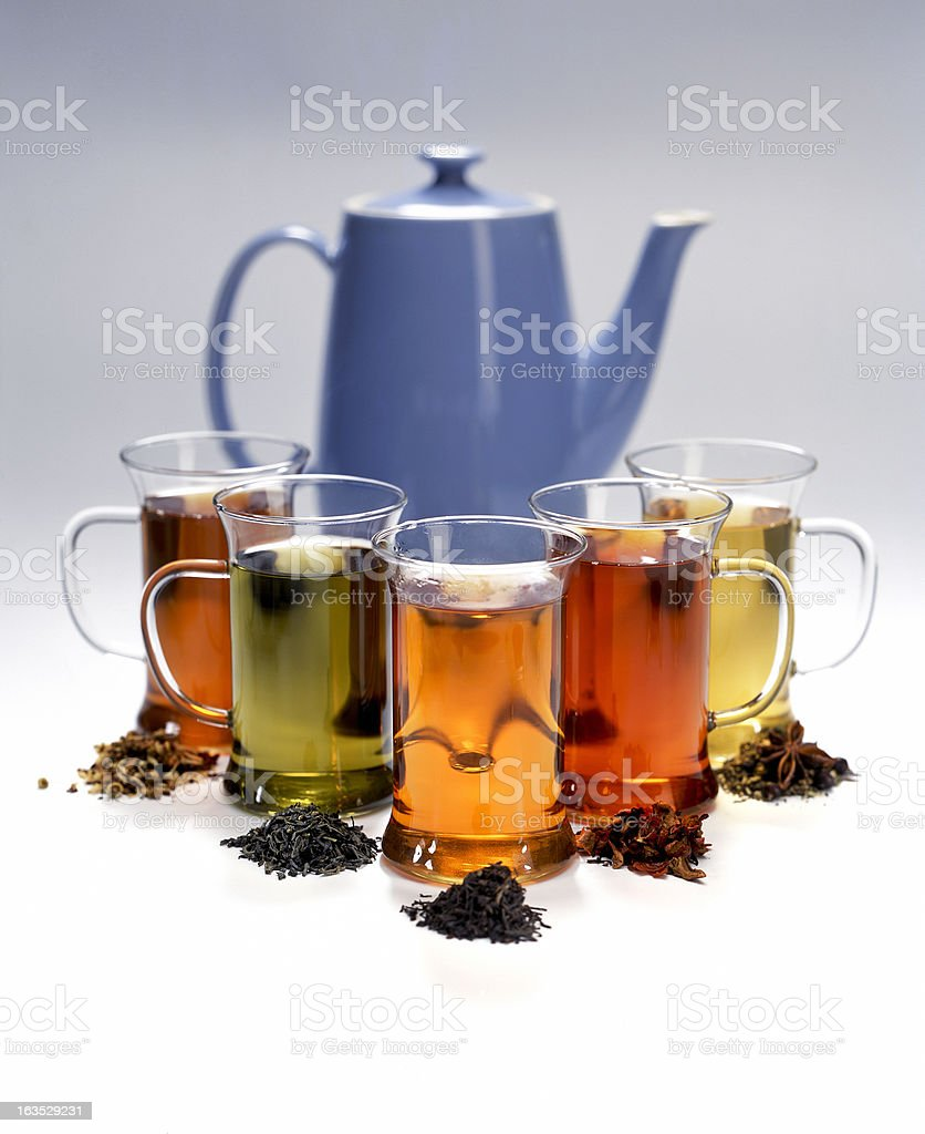 different kinds of tea stock photo