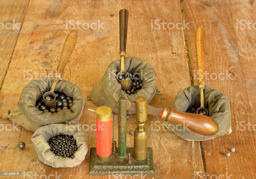 Different leads for hunting cartridges reloading stock photo