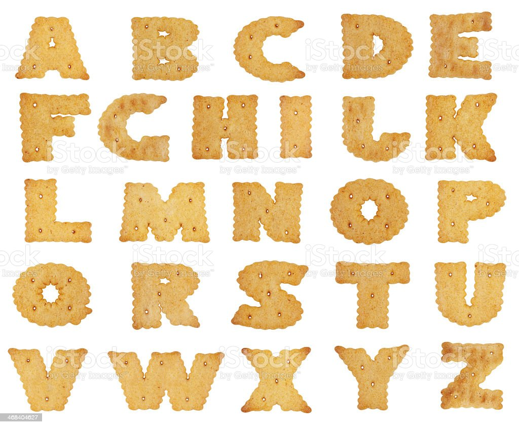 Different letters in the form of cookies stock photo