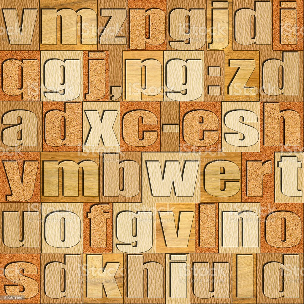 Different letters on background - Various wooden patterns stock photo