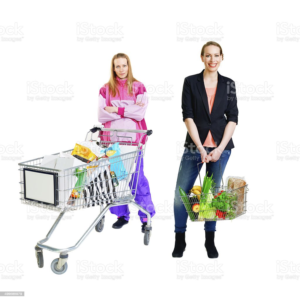 Different lifestyles illustrated by the same woman stock photo