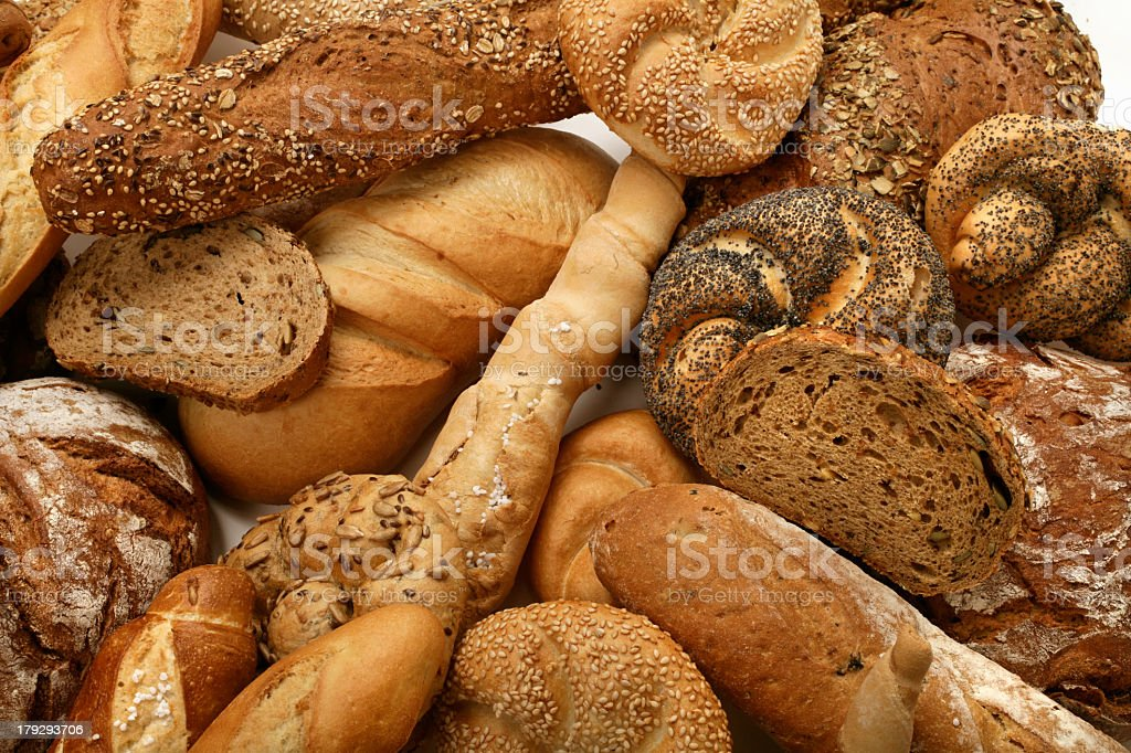 Different loaves of bread from bakeries stock photo