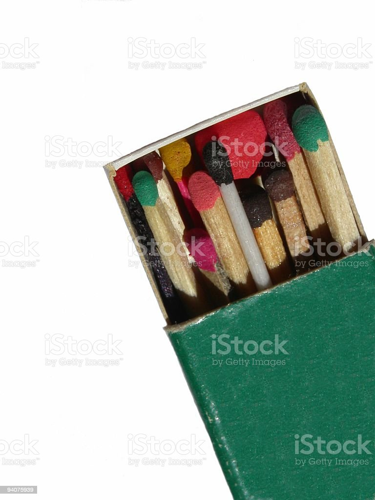 Different matchsticks in one box stock photo