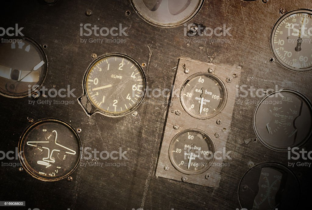 Different meters and displays in an old plane stock photo