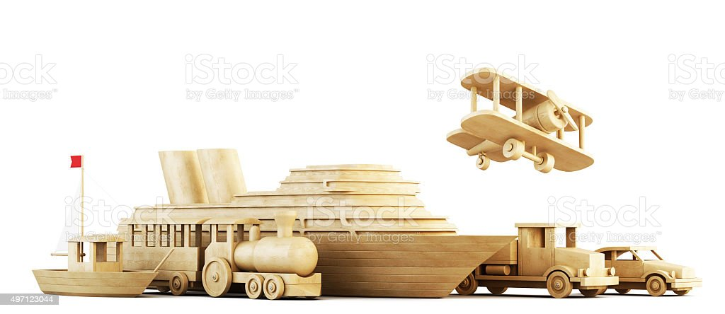 Different modes of transport. Conceptual 3d image. stock photo