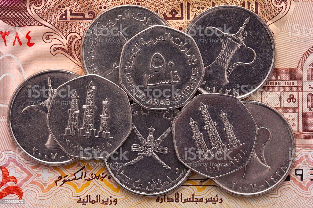 Different money of Arab Emirates Dirham stock photo