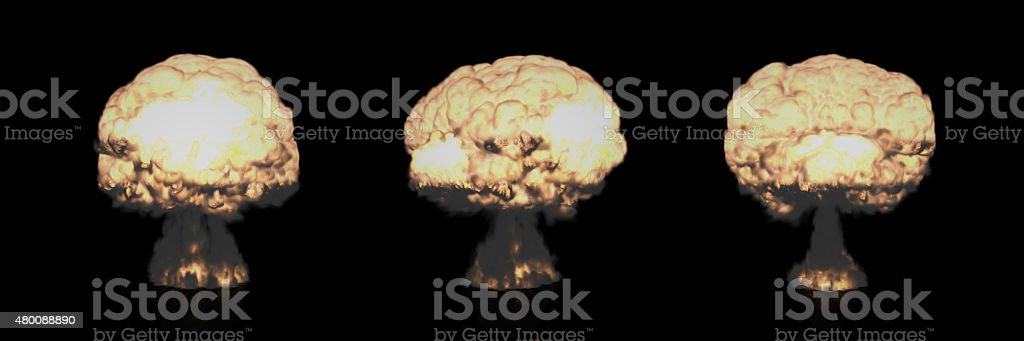 Different Mushroom Clouds of Nuclear Explosion stock photo